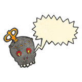 Retro cartoon shouting robot head. Retro cartoon with texture. Isolated on White Royalty Free Stock Photography