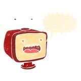 Retro cartoon shouting TV. Retro cartoon with texture. Isolated on White Royalty Free Stock Photos