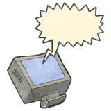 Retro cartoon shouting TV. Retro cartoon with texture. Isolated on White Royalty Free Stock Photo