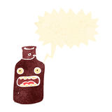 Retro cartoon shouting wine bottle Royalty Free Stock Image
