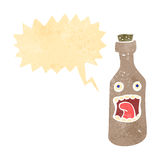 Retro cartoon shouting wine bottle Stock Photos