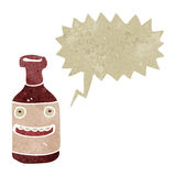 retro cartoon shouting wine bottle Stock Photography