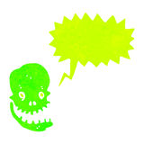 Retro cartoon shrieking green skull Stock Photo