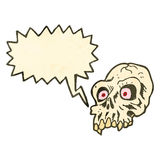 Retro cartoon shrieking skull symbol Stock Photos