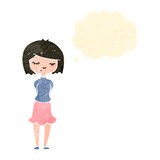 Retro cartoon shy girl with thought bubble Royalty Free Stock Photos