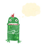 Retro cartoon shy swamp monster Royalty Free Stock Photo