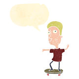 retro cartoon skateboarding boy Royalty Free Stock Image