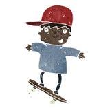 retro cartoon skateboarding boy Stock Photos
