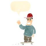 Retro cartoon skater boy with speech bubble Stock Photos