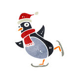 Retro cartoon skating christmas robin Royalty Free Stock Photography