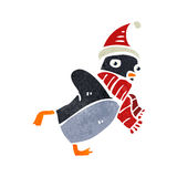 Retro cartoon skating christmas robin Stock Image