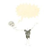 Retro cartoon skeleton holding own head Stock Photography