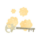 Retro cartoon,skeleton key. Retro cartoon with texture. Isolated on White vector illustration