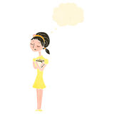 Retro cartoon skinny girl with thought bubble. Retro cartoon with texture. Isolated on White Royalty Free Stock Photos