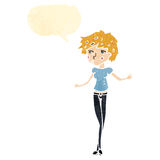 retro cartoon skinny woman Royalty Free Stock Photo