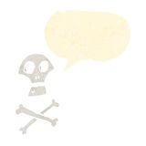 Retro cartoon skull and cross bones Stock Images