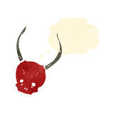 Retro cartoon skull with devil horns Royalty Free Stock Images