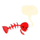 Retro cartoon skull fish bones symbol Stock Images