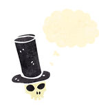 retro cartoon skull in top hat with thought bubble Royalty Free Stock Photography