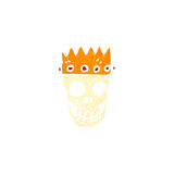 retro cartoon skull wearing crown Stock Photo