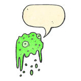 Retro cartoon slime monster with speech bubble Royalty Free Stock Photo