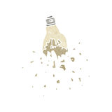 Retro cartoon smashed lightbulb Stock Image