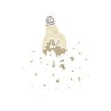 Retro cartoon smashed lightbulb. Retro cartoon with texture. Isolated on White Stock Image