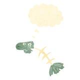 Retro cartoon smelly old fish bones. Retro cartoon with texture. Isolated on White Stock Photography