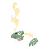 Retro cartoon smelly old fish bones. Retro cartoon with texture. Isolated on White Royalty Free Stock Photo