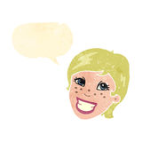 Retro cartoon smiling female face Stock Image