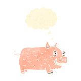 Retro cartoon smiling pig Royalty Free Stock Photos