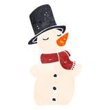 retro cartoon snowman Royalty Free Stock Photo