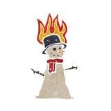 retro cartoon snowman melting Stock Photography