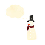 Retro cartoon snowman with thought bubble Royalty Free Stock Image