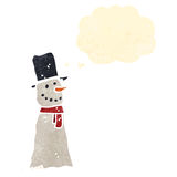 retro cartoon snowman with thought bubble Royalty Free Stock Photos