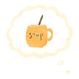 Retro cartoon soup mug Stock Photography