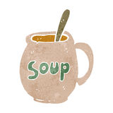 retro cartoon soup mug Stock Images