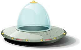 Retro Cartoon Spaceship. Illustration of a cartoon rounded spaceship landing on the ground Stock Image