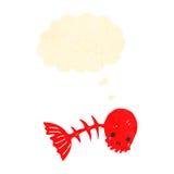 Retro cartoon spooky fish bone symbol with thought bubble Royalty Free Stock Photography