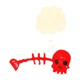 Retro cartoon spooky fish bone symbol with thought bubble Royalty Free Stock Image