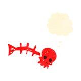 Retro cartoon spooky fish bone symbol with thought bubble. Retro cartoon with texture. Isolated on White Royalty Free Stock Photos
