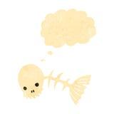 Retro cartoon spooky fish bones. Retro cartoon with texture. Isolated on White Royalty Free Stock Images