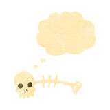 Retro cartoon spooky fish bones. Retro cartoon with texture. Isolated on White Stock Photos