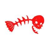 Retro cartoon spooky fish bones. Retro cartoon illustration. On plain white background Stock Photo