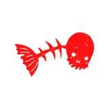 Retro cartoon spooky fish bones. Retro cartoon illustration. On plain white background Stock Photography