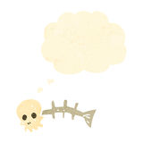 Retro cartoon spooky fish bones with thought bubble Royalty Free Stock Photos