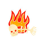 Retro cartoon spooky flaming fish bones symbol. Retro cartoon with texture. Isolated on White Royalty Free Stock Photos
