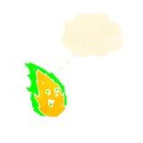 Retro cartoon spooky green fire spirit Royalty Free Stock Images
