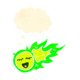 Retro cartoon spooky green fireball with thought bubble Stock Image