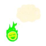Retro cartoon spooky green fireball with thought bubble Royalty Free Stock Photo